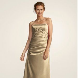 Gold Strapless Ruched Satin Ball Gown